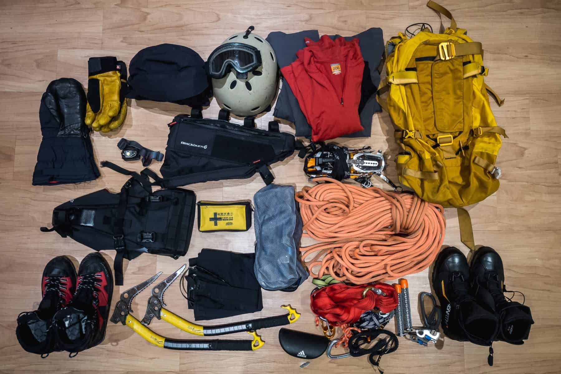 Top view of gear for ice climbing and fatbiking trip