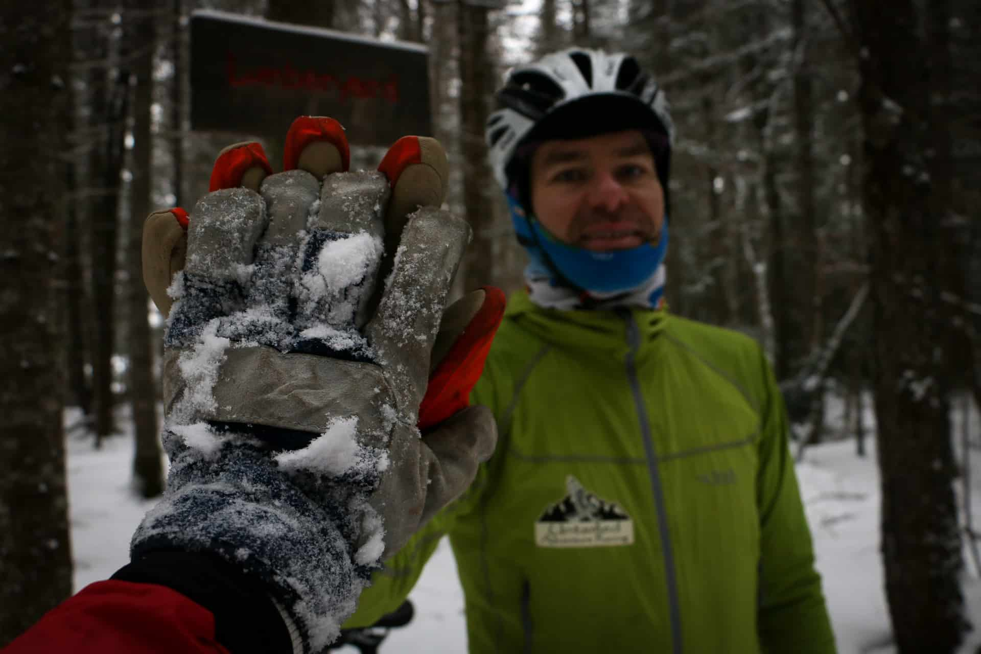 An high-five while fatbiking